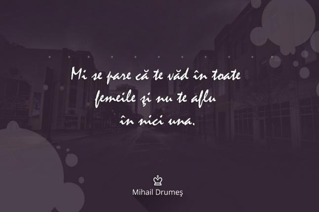 """Mihail Drumes citat """"Mi se pare că te văd în toate femeile și nu te aflu în nici una."""""""